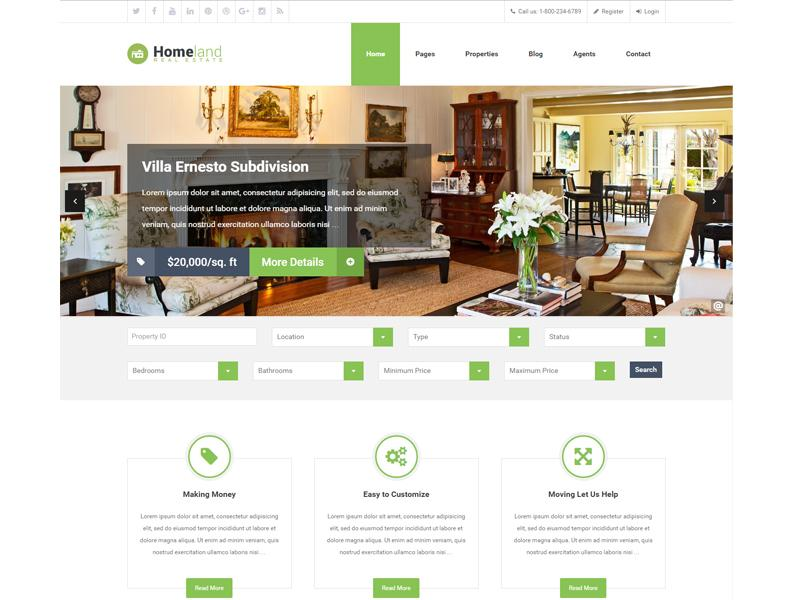 Homeland WP Real Estate Theme