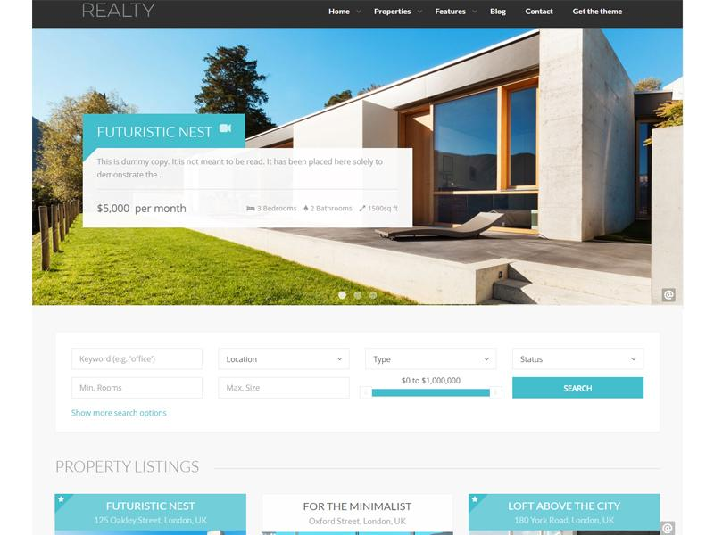 Realty wordpress real estate theme