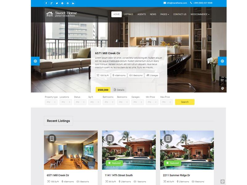 sweethome wordpress real estate theme