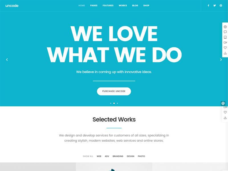uncode wp portfolio theme