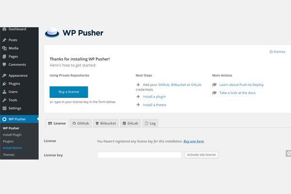 wp pusher plugin