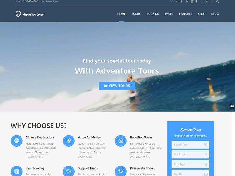 adventure tours wordpress theme