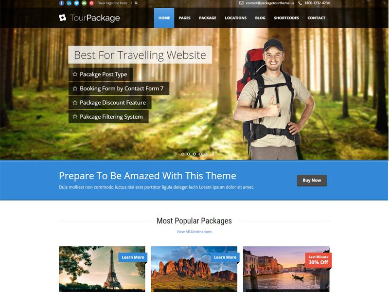 tour package wp theme