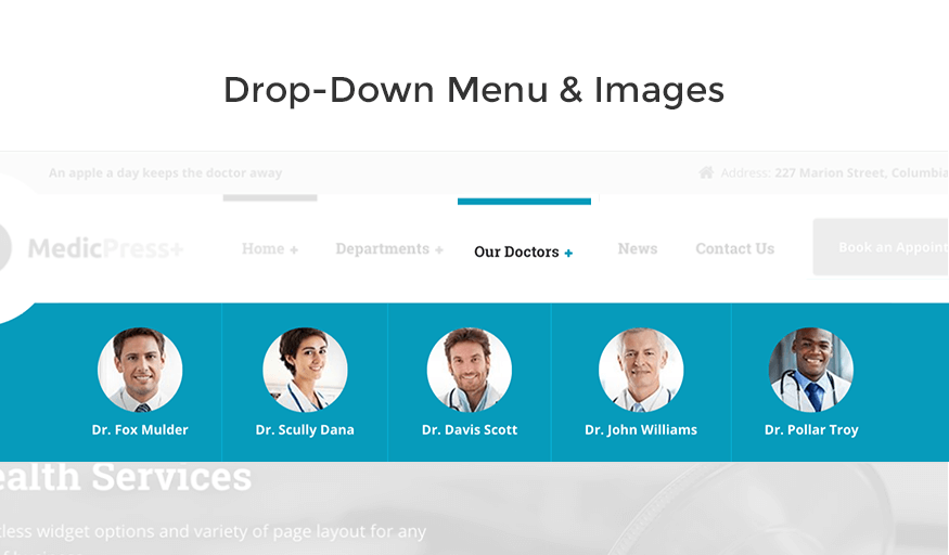 drop down menu medicpress