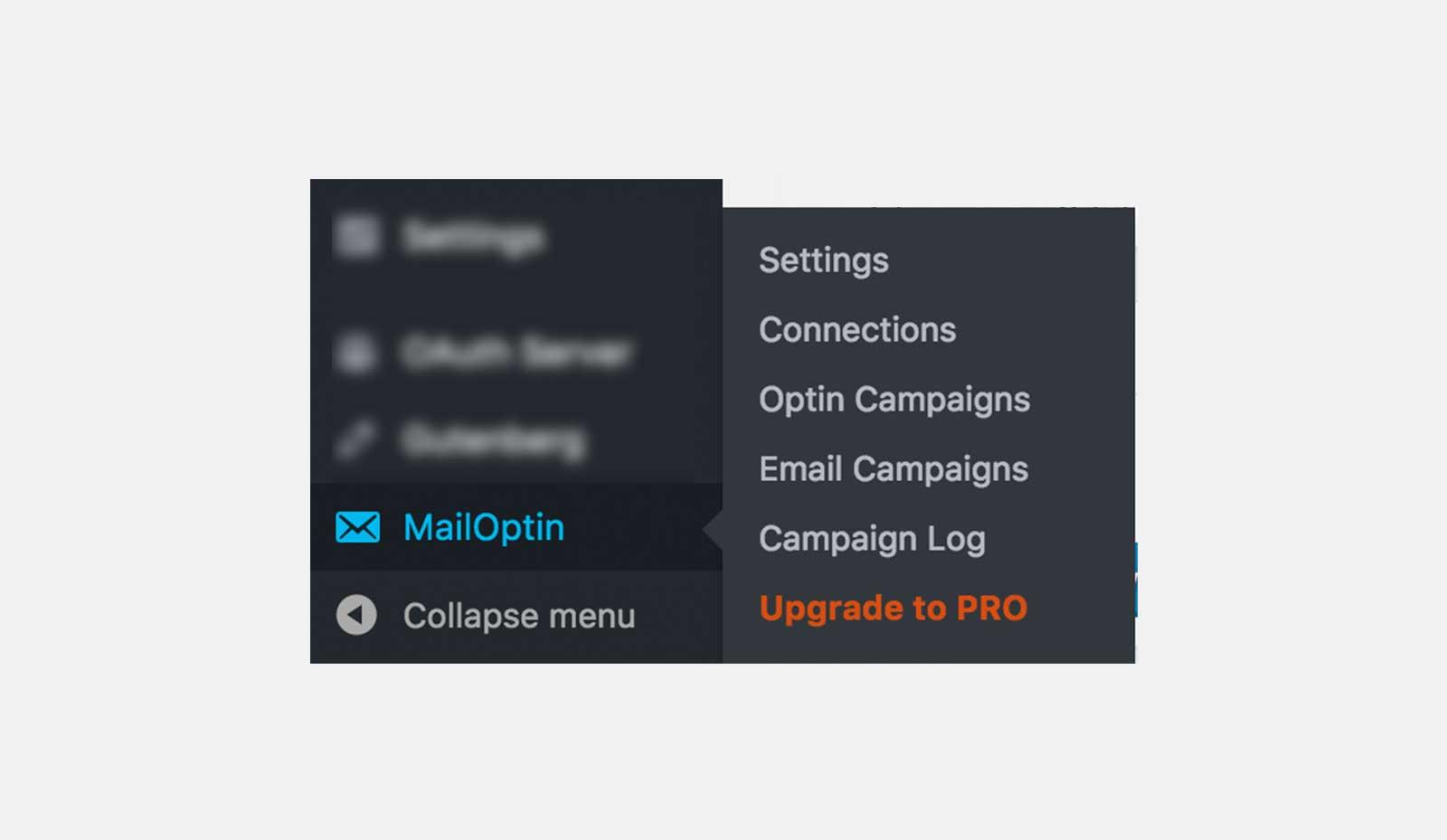 MailOptin menu