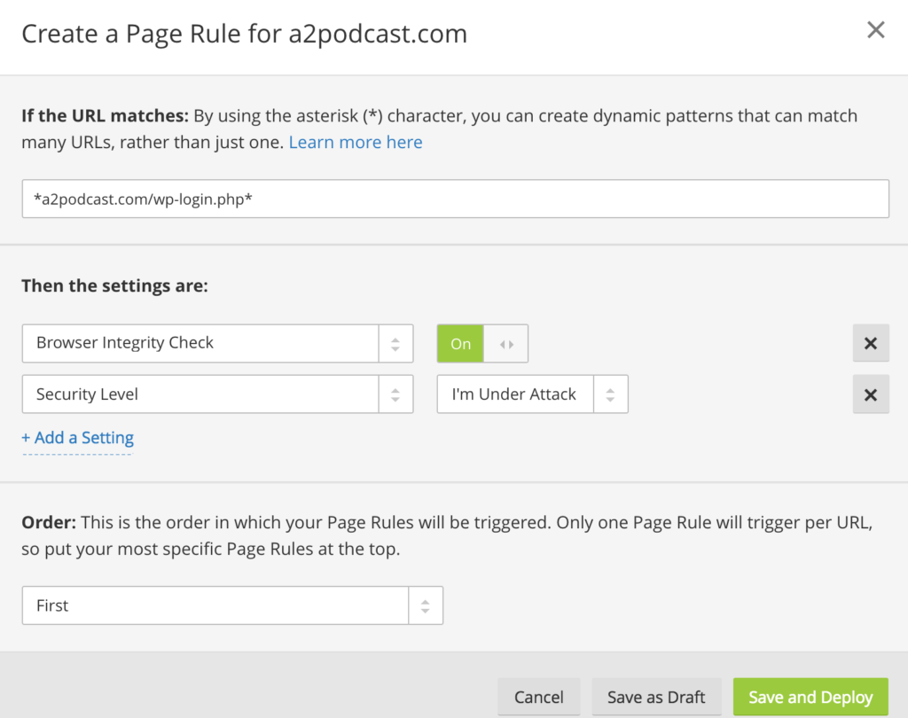 page rule for wp login