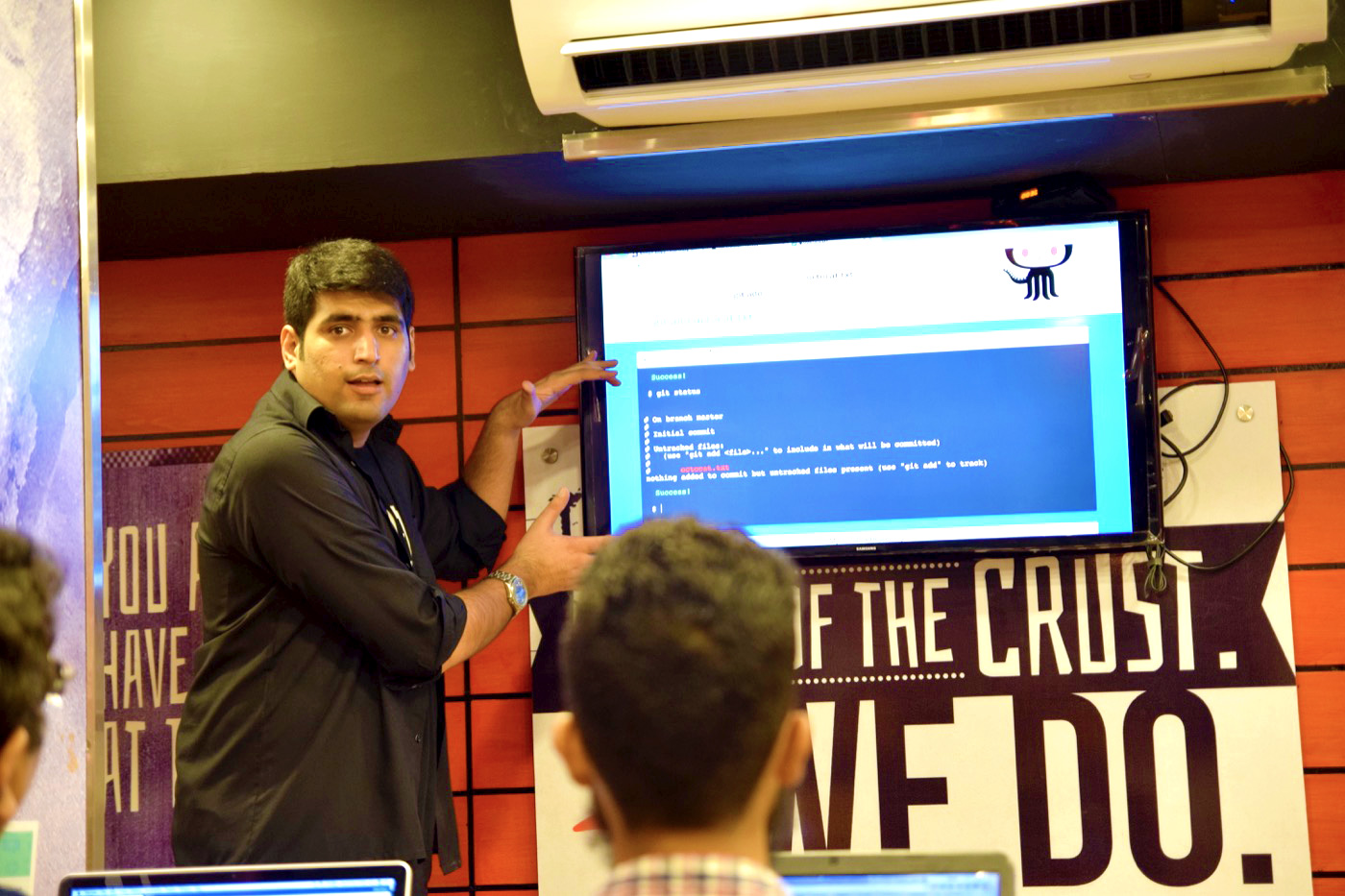 Ahmad Awais talking on Hacktoberfest Event