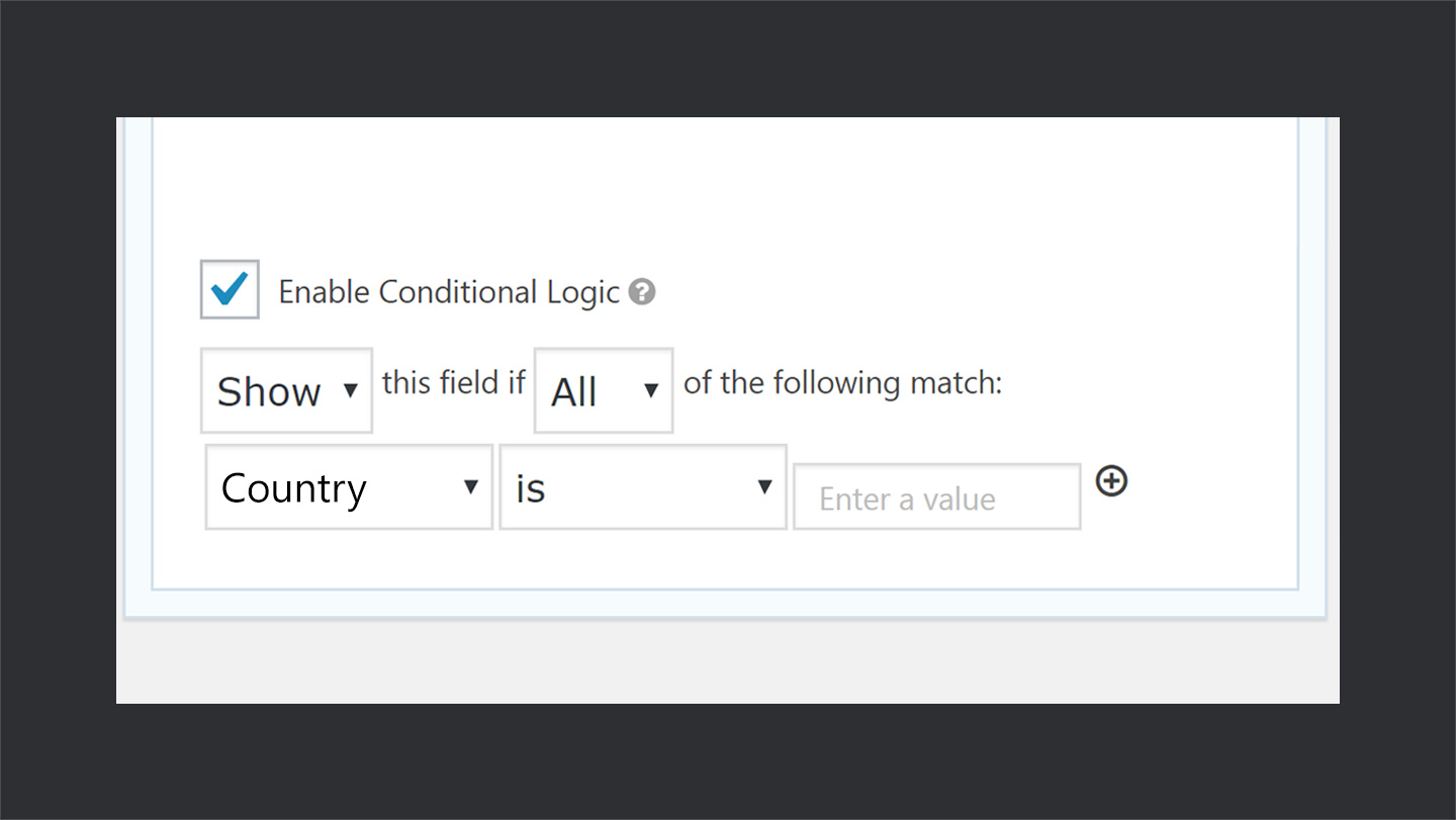 Conditional Logic Settings in Gravity Forms