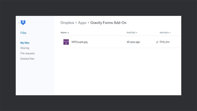 Files Uploaded in Dropbox