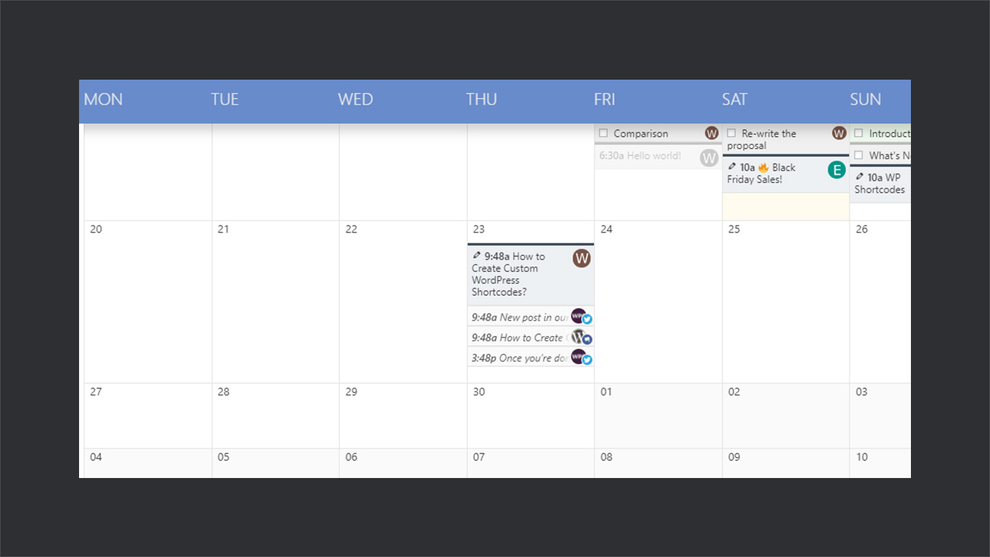 Editorial Calendar in Nelio Content