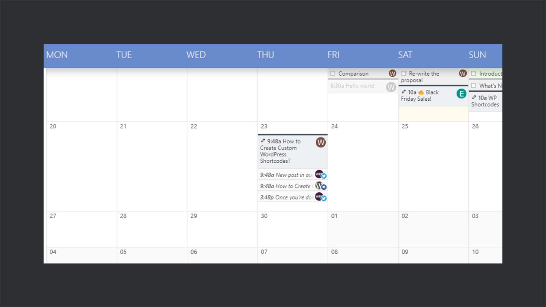 Editorial Calendar in Nelio Content