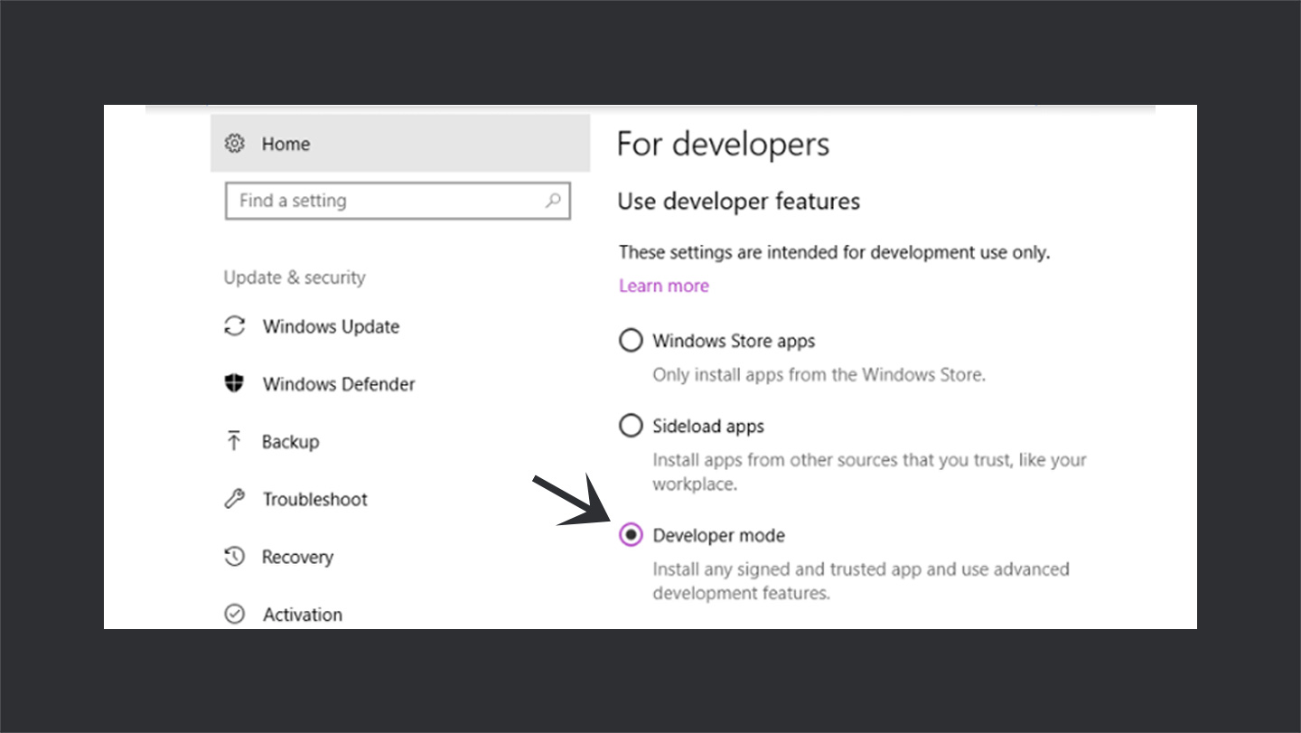 Enable Developers Mode in Windows