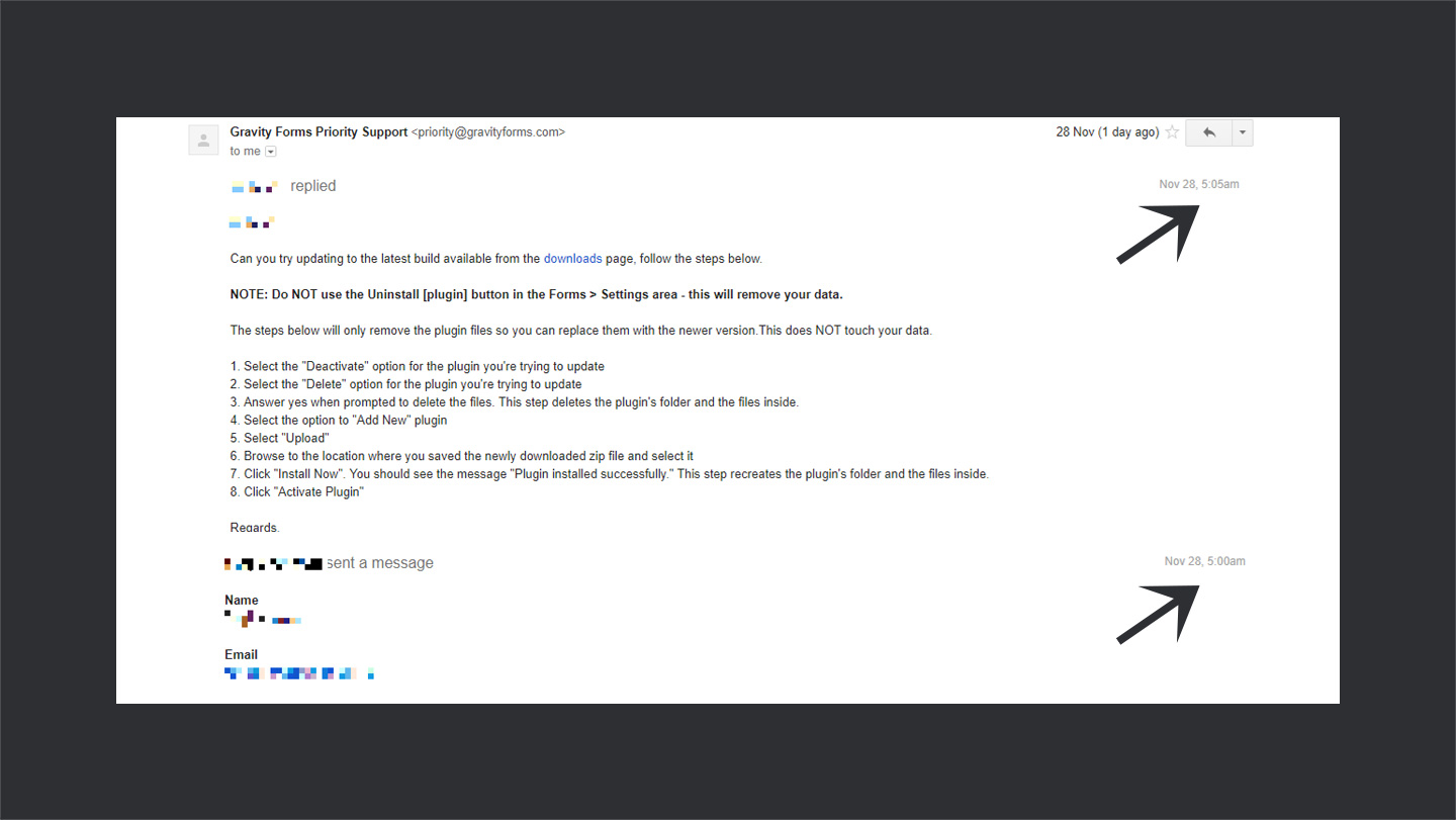 Support Email Gravity Forms
