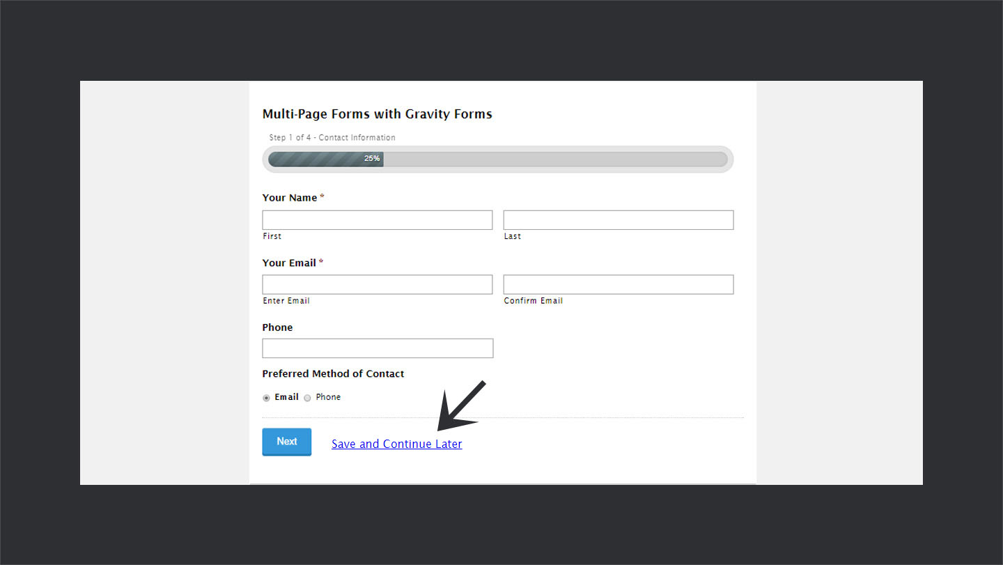 Save and Continue Feature in Gravity Forms