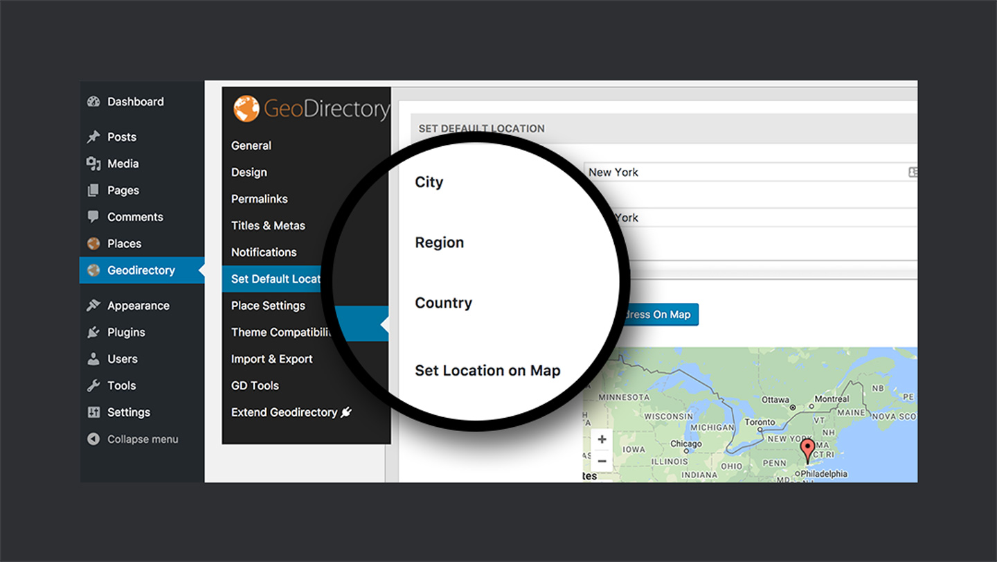 GeoDirectory — Default Location Setting