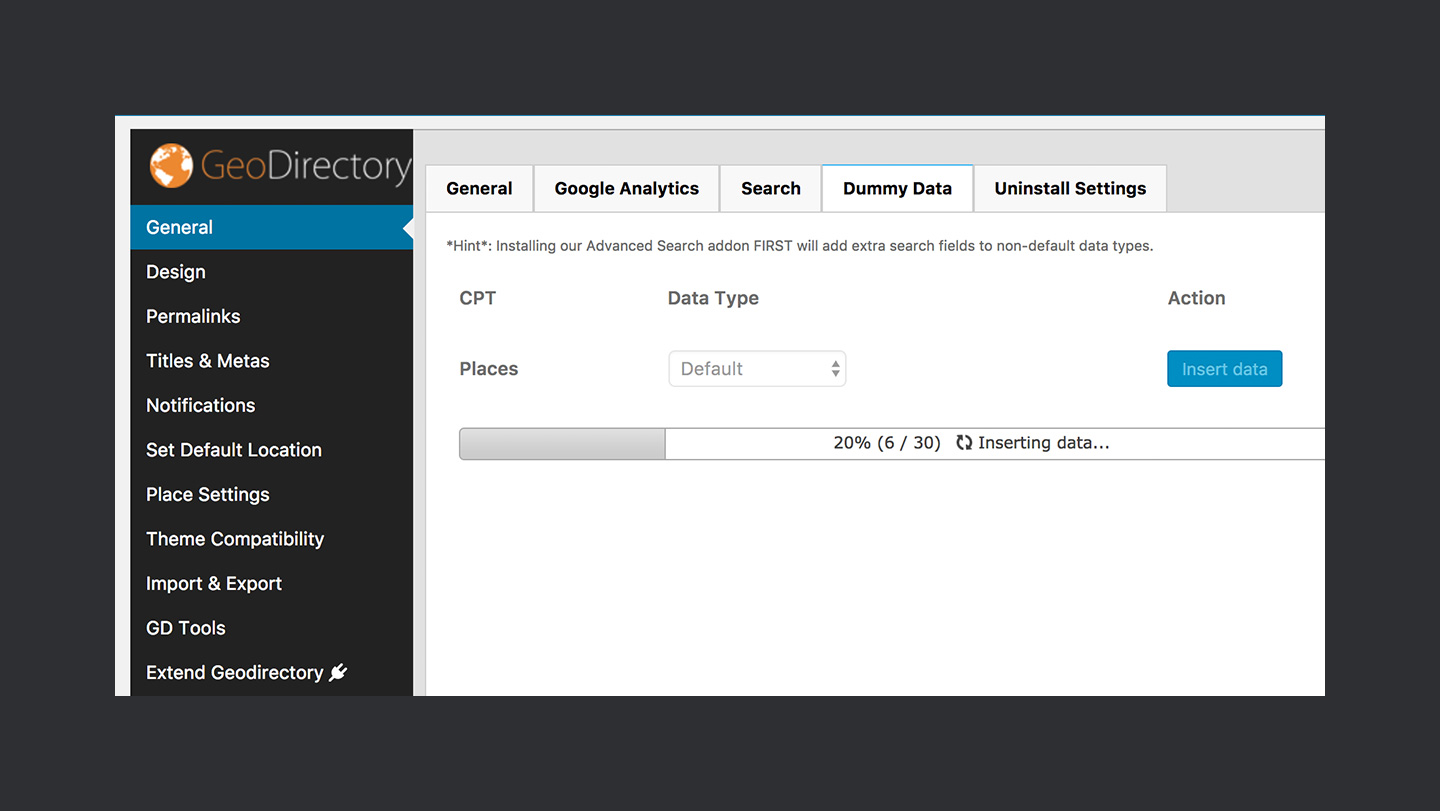 GeoDirectory Step 4 Importing Data