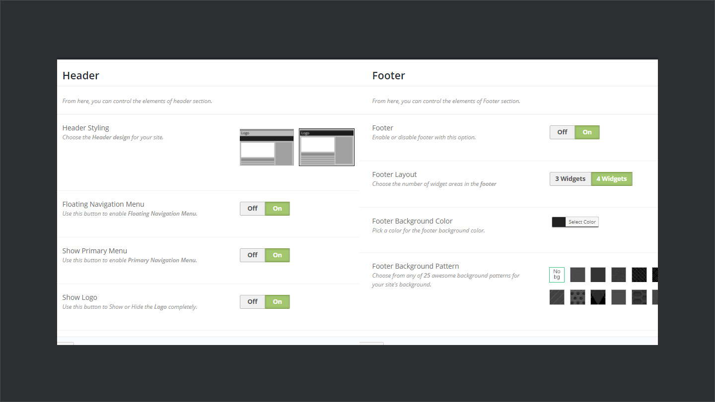 header footer settings