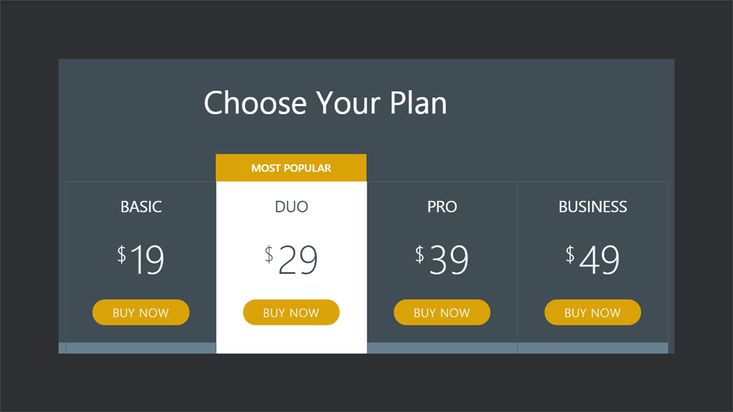 wordpress image gallery plugin Pricing-Table