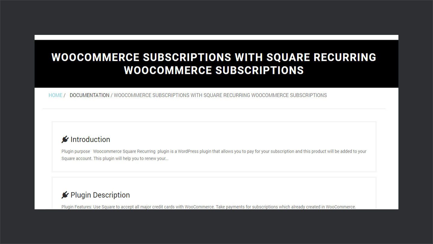 documentation of square recurring payments for woocommerce