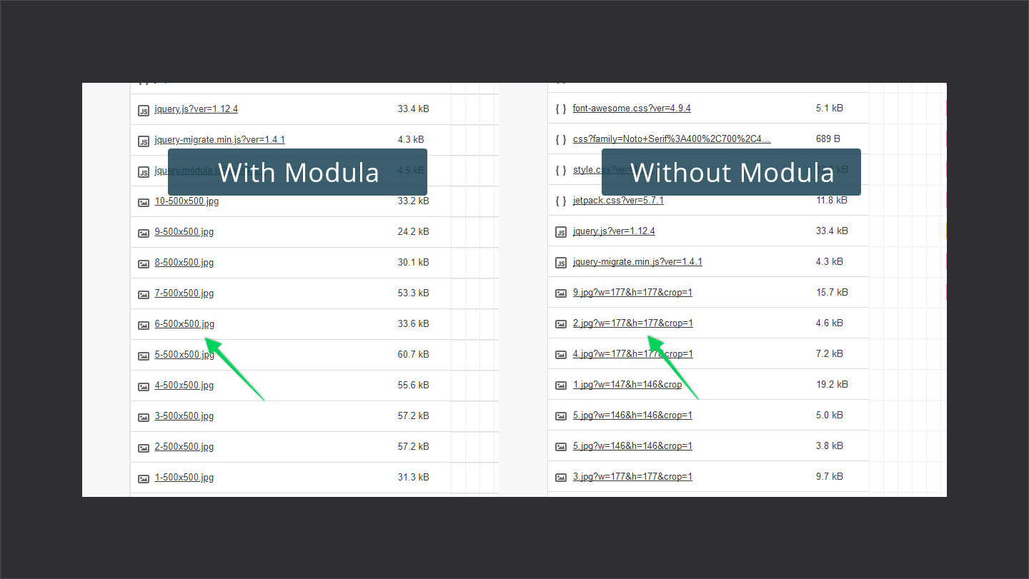 image size difference with modula