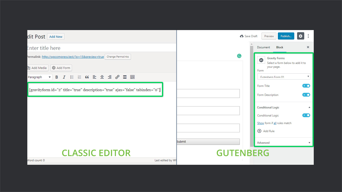 Classic Editor Vs Gutenberg In Shortcodes