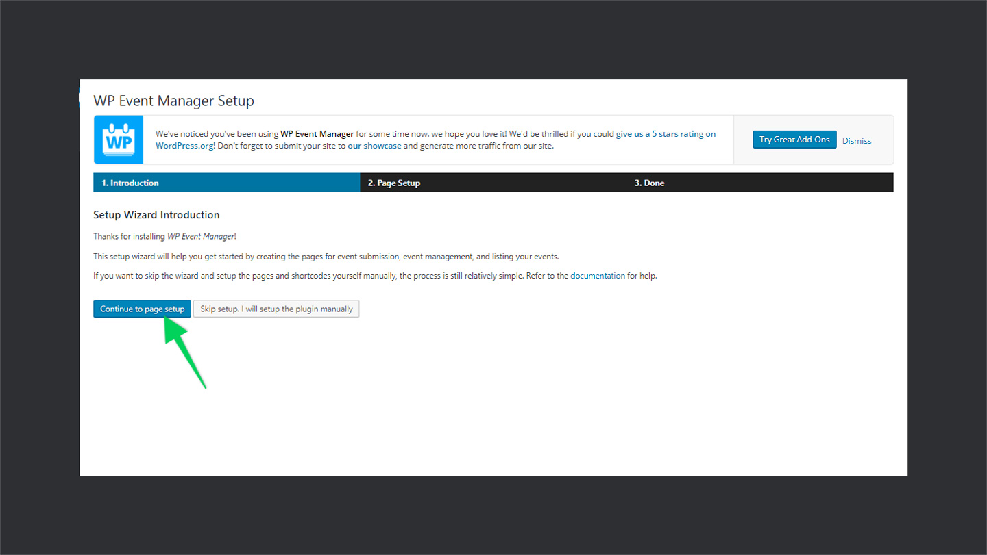 Wp Event Manager Plugin Setup