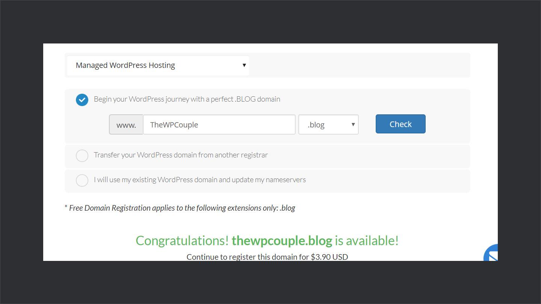 Wpwebhost Domain Selection