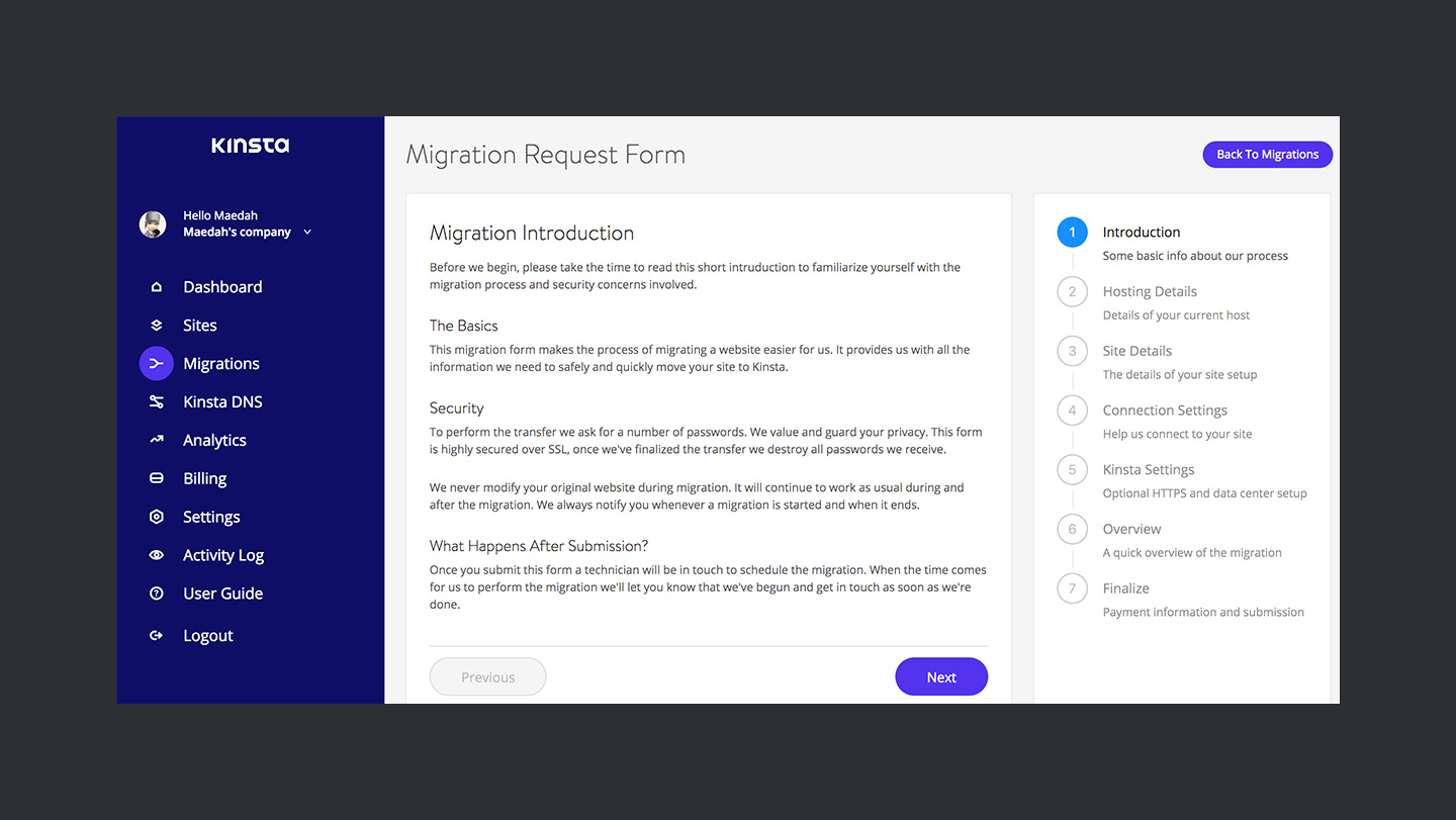 Kinsta Review Migration Request Form