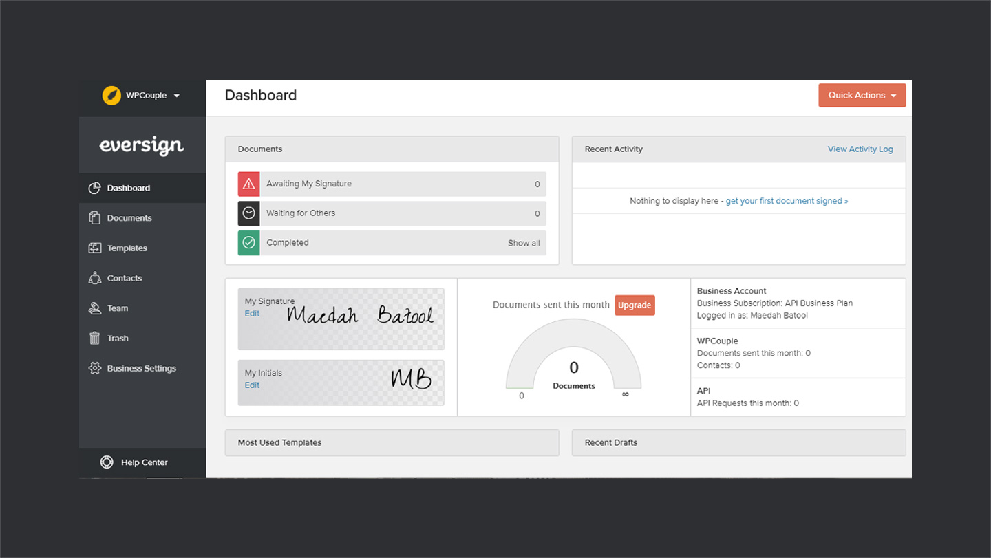 Eversign Dashboard