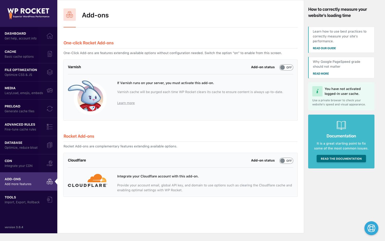 Screenshot Options Addons Wp Rocket