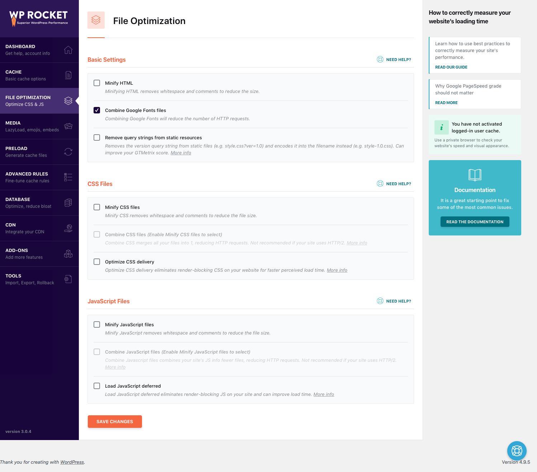 Screenshot Options File Optimization Wp Rocket