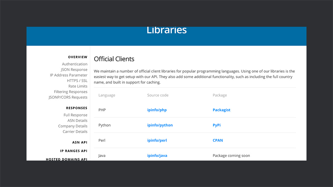 Ipinfo Libraries